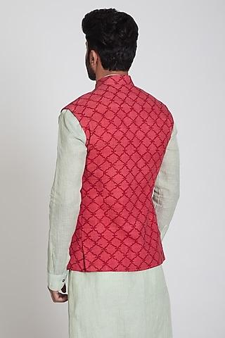 Pink Printed Nehru Jacket by Pranay Baidya Men