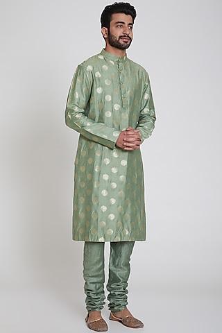 Green Brocade Kurta by Pranay Baidya Men