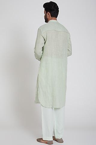 Green Striped Kurta by Pranay Baidya Men