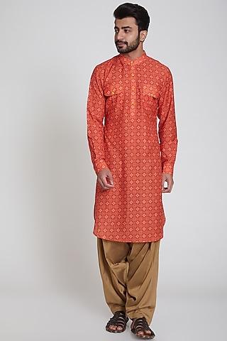 Red Ikkat Printed Kurta by Pranay Baidya Men