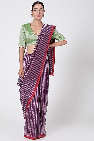Purple & Gold Striped Saree by Pranay Baidya