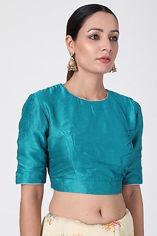 Teal Green Blouse With Zari Work by Pranay Baidya