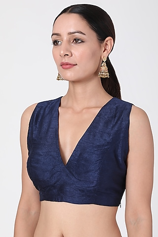 Blue Blouse With Gold Cord by Pranay Baidya