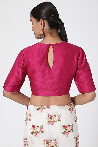 Magenta Blouse With Cord Detailing by Pranay Baidya