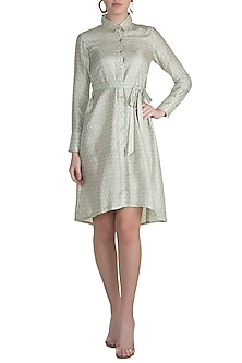Pistachio Green Block Printed Shirt Dress by Pranay Baidya