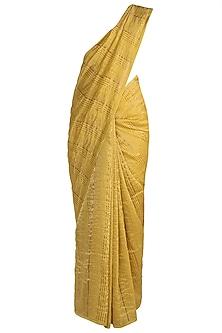 Golden Yellow Striped Saree by Pranay Baidya
