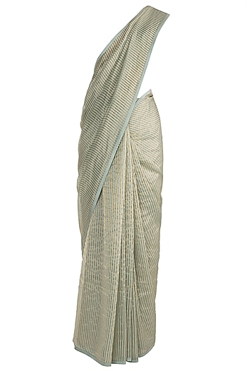 Green & Golden Striped Saree by Pranay Baidya