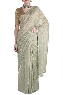 Green & Golden Striped Saree by Pranay Baidya