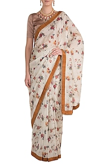Ivory Printed Saree by Pranay Baidya