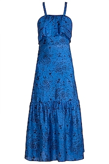 Blue Block Printed Cocktail Dress by Pranay Baidya
