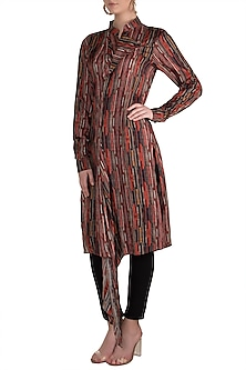 Multi Colored Striped Drape Long Kurta by Pranay Baidya
