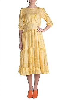 Yellow Block Printed Cocktail Midi Dress by Pranay Baidya