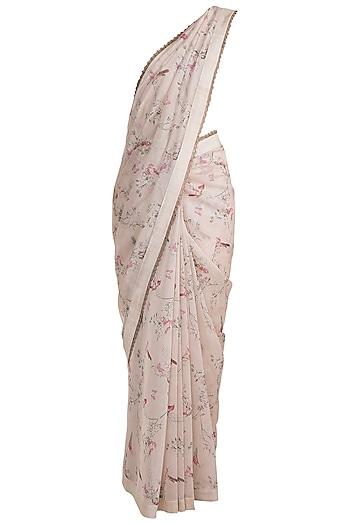 Pink Printed Saree by Pranay Baidya