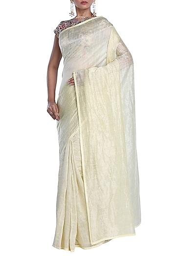 Cream Chanderi Striped Saree by Pranay Baidya