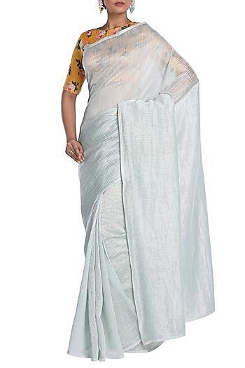 Light Powder Blue Striped Saree by Pranay Baidya