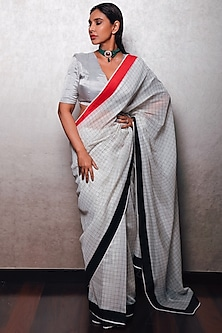 White Cotton Checkered Saree by Pranay Baidya