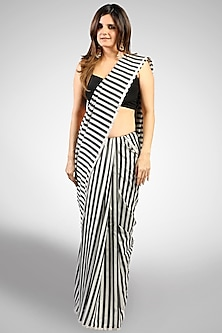 Silver & Black Striped Saree by Pranay Baidya