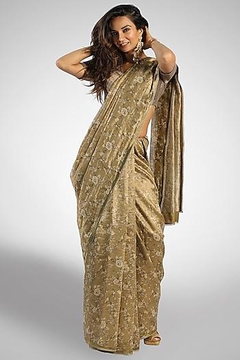 Greenish Golden Tissue Saree by Pranay Baidya