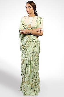 Mint Green Floral Printed Saree by Pranay Baidya-SHOP BY STYLE