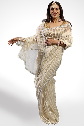 White & Golden Striped Saree by Pranay Baidya