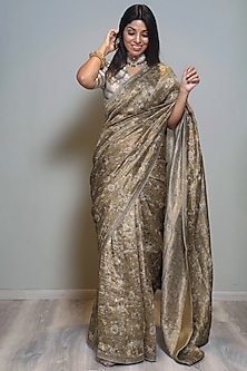 Greenish Gold Zari Matka Saree by Pranay Baidya