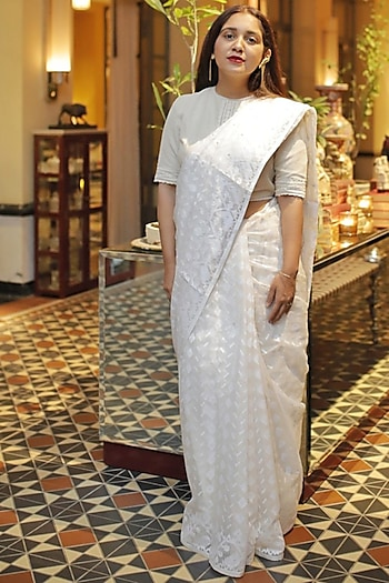 White Jamdani Cotton Saree by Pranay Baidya