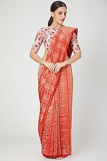 Red & Gold Striped Saree by Pranay Baidya