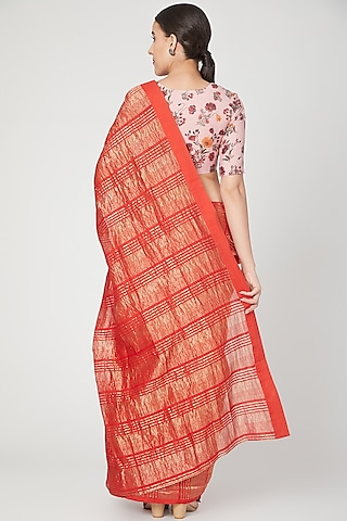 Red & Gold Striped Saree by Pranay Baidya