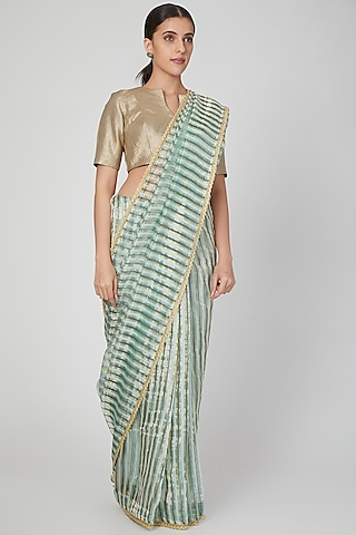 Mint Green & Copper Striped Saree by Pranay Baidya