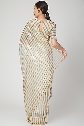 White & Copper Striped Saree by Pranay Baidya