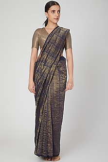 Dark Blue & Gold Striped Saree by Pranay Baidya