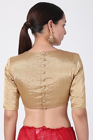 Gold Tissue Blouse by Pranay Baidya