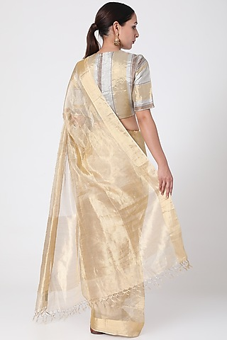 Gold Tissue Saree by Pranay Baidya