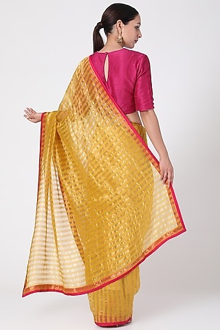 Yellow & Gold Saree  by Pranay Baidya