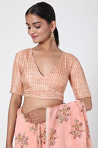 Peach Striped Blouse by Pranay Baidya