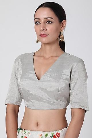 Silver Tissue Blouse by Pranay Baidya
