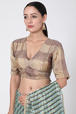 Golden Checkered Blouse by Pranay Baidya