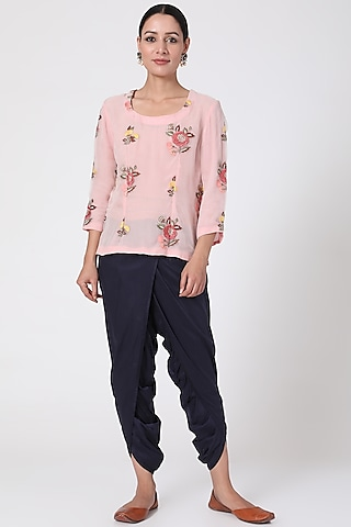 Pink Embroidered Top by Pranay Baidya
