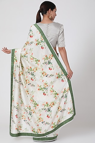 White & Green Printed Saree by Pranay Baidya