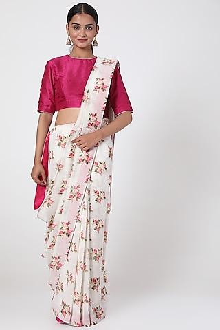 White & Pink Printed Saree by Pranay Baidya