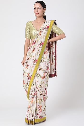 White & Yellow Printed Saree by Pranay Baidya