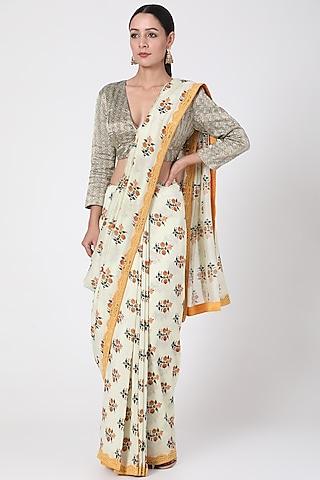 White Floral Printed Saree by Pranay Baidya