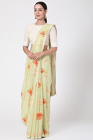 Green Floral Printed Saree by Pranay Baidya
