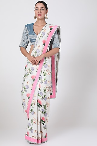 White Chanderi Printed Saree by Pranay Baidya