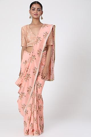 Peach Floral Printed Saree by Pranay Baidya