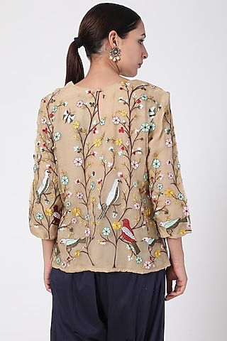 Mustard Yellow Embroidered Top by Pranay Baidya
