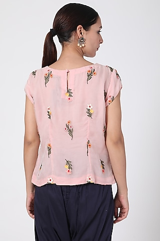 Pink Floral Embroidered Organza Top by Pranay Baidya