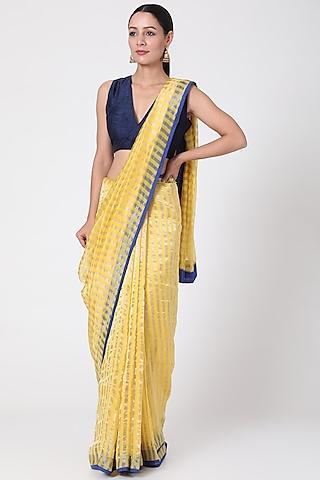 Yellow Silver Striped Saree by Pranay Baidya