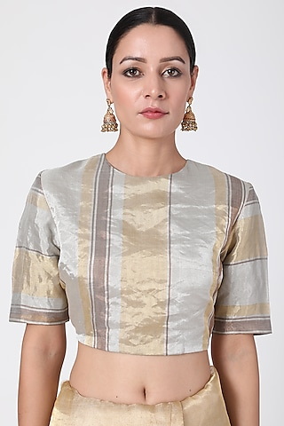 Silver Gold & Copper Striped Blouse by Pranay Baidya