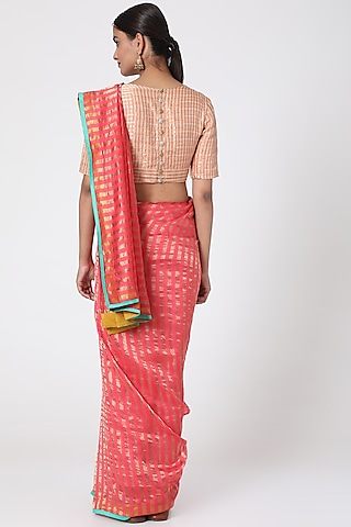 Coral Pink Golden Striped Saree by Pranay Baidya